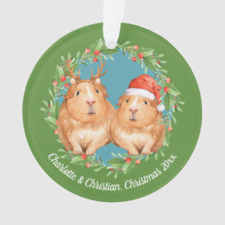 Guinea Pigs Santa and Reindeer Wreath Christmas Ornament