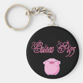 guinea pigs sparkle pink basic round button key ring
