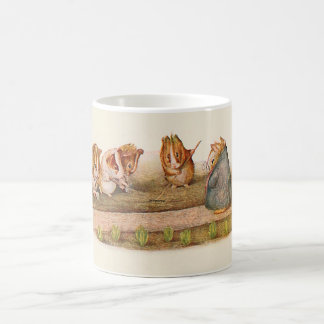 Guinea pigs tending garden basic white mug