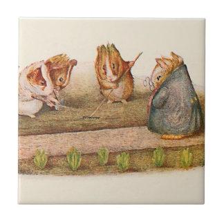 Guinea Pigs Tending Vegetable Garden Small Square Tile