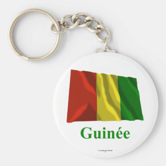 Guinea Waving Flag with Name in French Basic Round Button Key Ring
