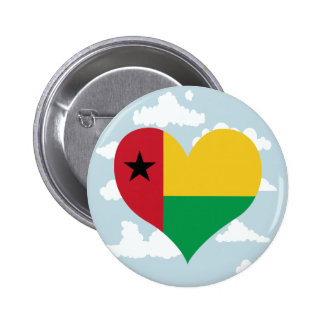 Guinean Flag on a cloudy background 6 Cm Round Badge
