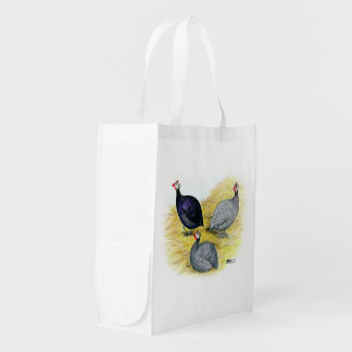 Guineas Purple, Coral Blue and Lavender Reusable Grocery Bag