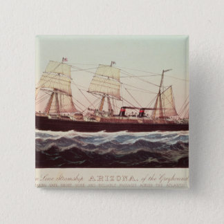 Guion Line Steamship Arizona 15 Cm Square Badge