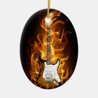 Guitair Flames Christmas Ornament