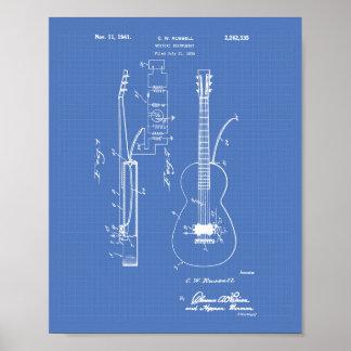 Guitar 1941 Patent Art Blueprint Poster