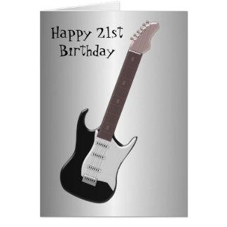 Guitar 21st Birthday Card
