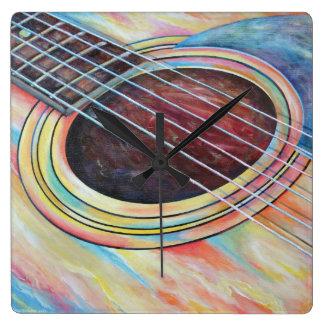 Guitar 2 square wall clock
