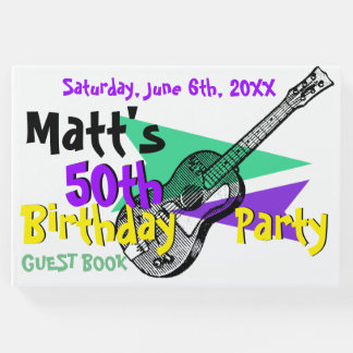 Guitar 50th Birthday Party Guest Book