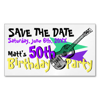 Guitar 50th Birthday Party Save the date Magnetic Magnetic Business Cards