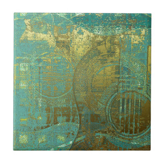 Guitar Abstract Blue Green Gold Brown Small Square Tile