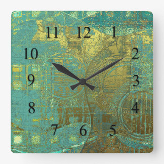 Guitar Abstract Blue Green Gold Brown Square Wall Clock
