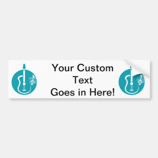 guitar abstract cutout with notes teal.png bumper sticker