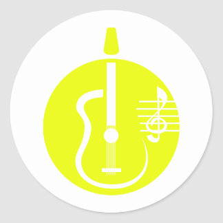 guitar abstract cutout with notes yellow.png round sticker