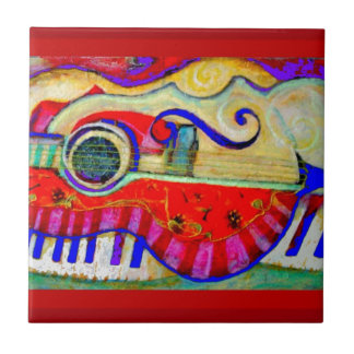 Guitar Abstracted Art by Sharles Small Square Tile