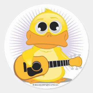 Guitar (Acoustic) Duck Round Sticker