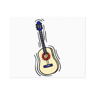 guitar acoustic simple red blue.png canvas print