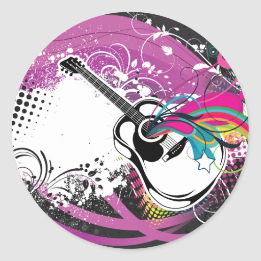 Guitar ~ Acoustic Spanish Country Western Round Stickers