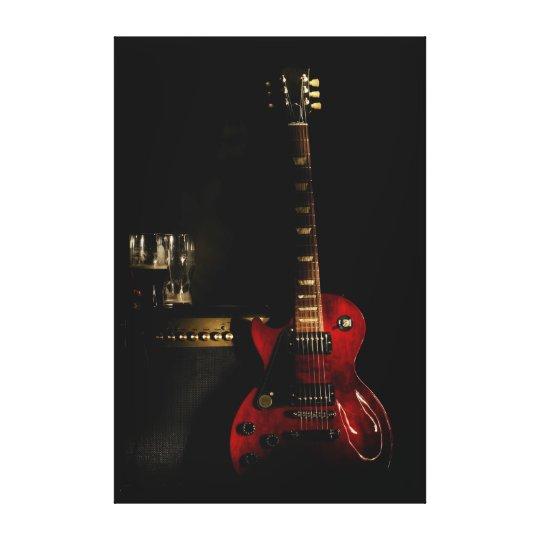 guitar and amplifier big canvas wall art
