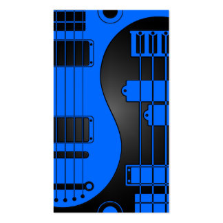 Guitar and Bass Yin Yang Blue and Black Business Card