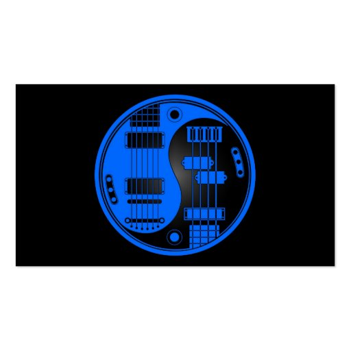 Guitar and Bass Yin Yang Blue and Black Business Cards