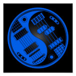 Guitar and Bass Yin Yang Blue and Black Poster