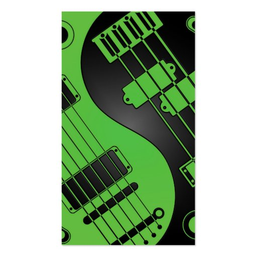 Guitar and Bass Yin Yang Green and Black Business Card Template