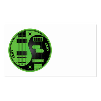 Guitar and Bass Yin Yang Green and Black Business Card