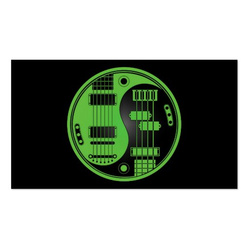 Guitar and Bass Yin Yang Green and Black Business Cards