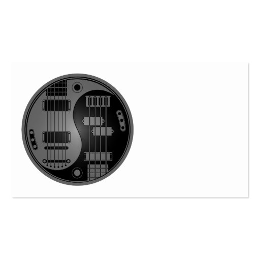 Guitar and Bass Yin Yang Grey and Black Business Card Template