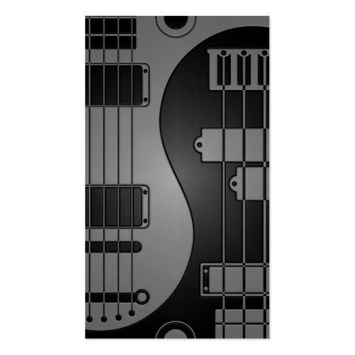 Guitar and Bass Yin Yang Grey and Black Business Card Templates