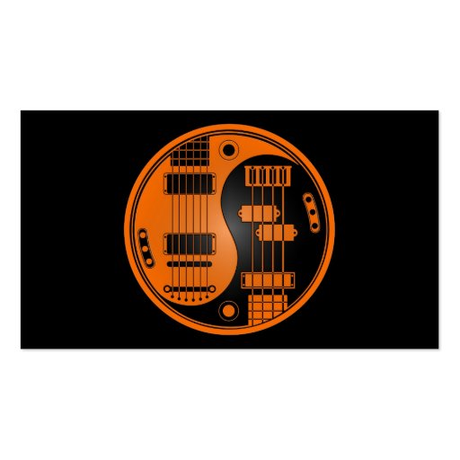 Guitar and Bass Yin Yang Orange and Black Business Card Template