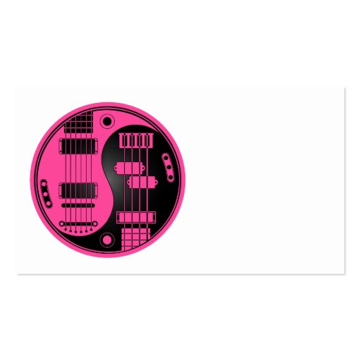 Guitar and Bass Yin Yang Pink and Black Business Card