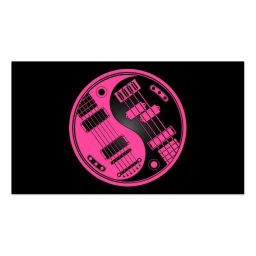 Guitar and Bass Yin Yang Pink and Black Business Card Templates