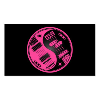Guitar and Bass Yin Yang Pink and Black Pack Of Standard Business Cards