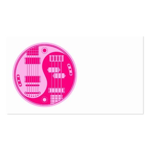 Guitar and Bass Yin Yang Pink Business Card Template
