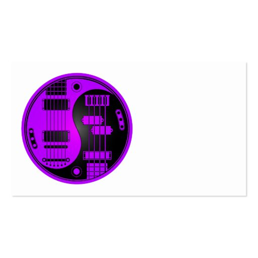 Guitar and Bass Yin Yang Purple and Black Business Card Template