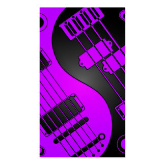 Guitar and Bass Yin Yang Purple and Black Business Cards
