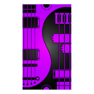 Guitar and Bass Yin Yang Purple and Black Business Card