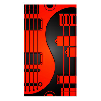 Guitar and Bass Yin Yang Red and Black Business Card Template