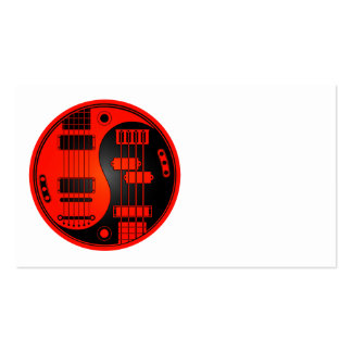 Guitar and Bass Yin Yang Red and Black Business Card Templates
