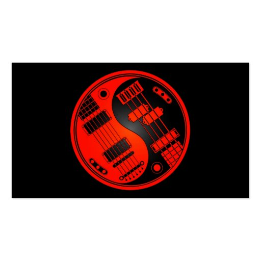 Guitar and Bass Yin Yang Red and Black Business Card