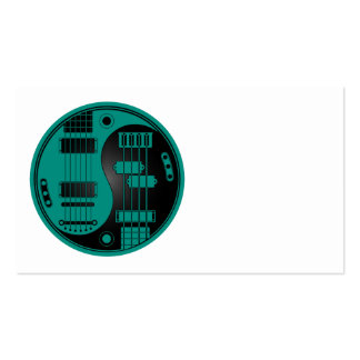 Guitar and Bass Yin Yang Teal Blue and Black Business Card Template