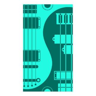 Guitar and Bass Yin Yang Teal Blue Business Card Template