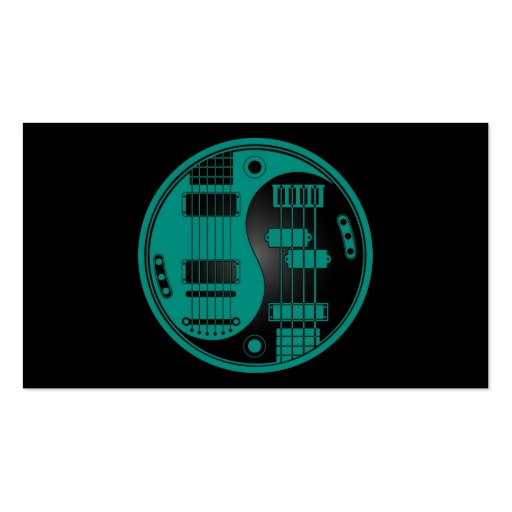 Guitar and Bass Yin Yang Teal Blue on Black Business Card Template