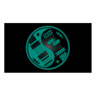Guitar and Bass Yin Yang Teal Blue on Black Business Card Templates