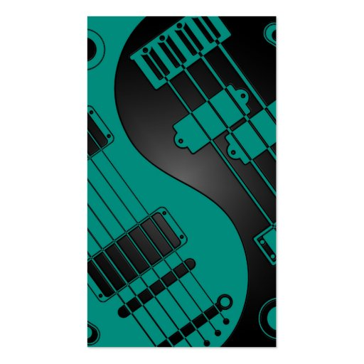 Guitar and Bass Yin Yang Teal Blue on Black Business Cards
