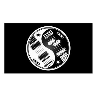 Guitar and Bass Yin Yang White and Black Business Card Template