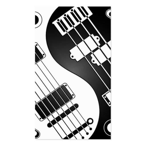 Guitar and Bass Yin Yang White and Black Business Card Templates