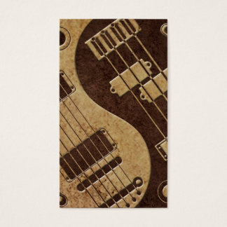 Guitar and Bass Yin Yang with Brown Texture Business Card